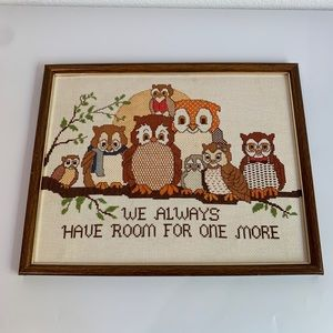 Vintage Framed Owl Family Cross Stitch